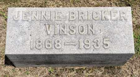 BRICKER VINSON, JENNIE - Richland County, Ohio | JENNIE BRICKER VINSON - Ohio Gravestone Photos