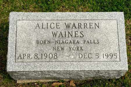WAINES, ALICE - Richland County, Ohio | ALICE WAINES - Ohio Gravestone Photos