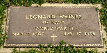 WAINES, LEONARD - Richland County, Ohio | LEONARD WAINES - Ohio Gravestone Photos