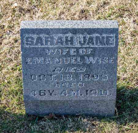 WISE, SARAH JANE - Richland County, Ohio | SARAH JANE WISE - Ohio Gravestone Photos