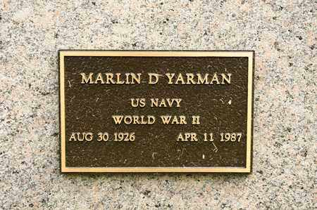 YARMAN, MARLIN D - Richland County, Ohio | MARLIN D YARMAN - Ohio Gravestone Photos