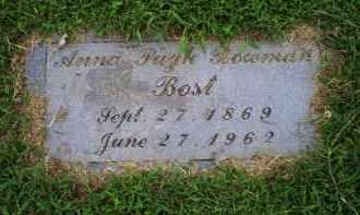 BOWMAN BOST, ANNA PUGH - Ross County, Ohio | ANNA PUGH BOWMAN BOST - Ohio Gravestone Photos