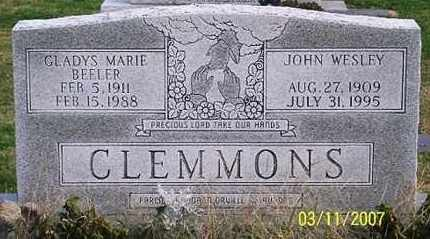 CLEMMONS, JOHN WESLEY - Ross County, Ohio | JOHN WESLEY CLEMMONS - Ohio Gravestone Photos