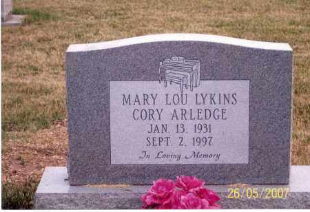 LYKINS CORY-ARLEDGE, MARY LOU - Ross County, Ohio | MARY LOU LYKINS CORY-ARLEDGE - Ohio Gravestone Photos