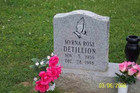 DETILLION, MYRNA ROSE - Ross County, Ohio | MYRNA ROSE DETILLION - Ohio Gravestone Photos