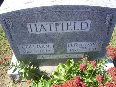 DAVIS HATFIELD, ELIZA - Ross County, Ohio | ELIZA DAVIS HATFIELD - Ohio Gravestone Photos