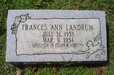 LANDRUM, FRANCES ANN - Ross County, Ohio | FRANCES ANN LANDRUM - Ohio Gravestone Photos