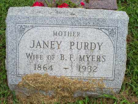 PURDY MYERS, JANEY - Ross County, Ohio | JANEY PURDY MYERS - Ohio Gravestone Photos