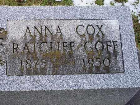 COX RATCLIFF-GOFF, ANNA - Ross County, Ohio | ANNA COX RATCLIFF-GOFF - Ohio Gravestone Photos