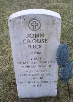 RICE, JOHN CROUSE - Ross County, Ohio | JOHN CROUSE RICE - Ohio Gravestone Photos