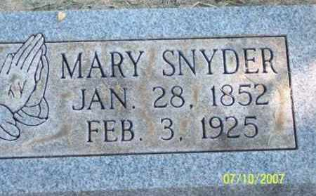 SNYDER, MARY - Ross County, Ohio | MARY SNYDER - Ohio Gravestone Photos