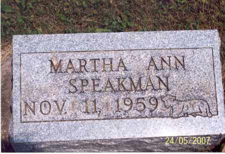 SPEAKMAN, MARTHA ANN - Ross County, Ohio | MARTHA ANN SPEAKMAN - Ohio Gravestone Photos