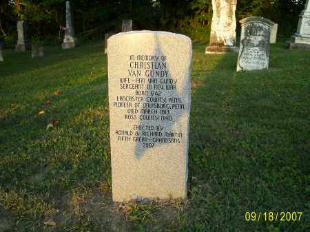 VAN GUNDY, CHRISTIAN - Ross County, Ohio | CHRISTIAN VAN GUNDY - Ohio Gravestone Photos