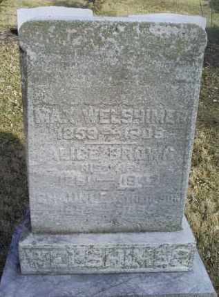 WELSHIMER, ALICE - Ross County, Ohio | ALICE WELSHIMER - Ohio Gravestone Photos