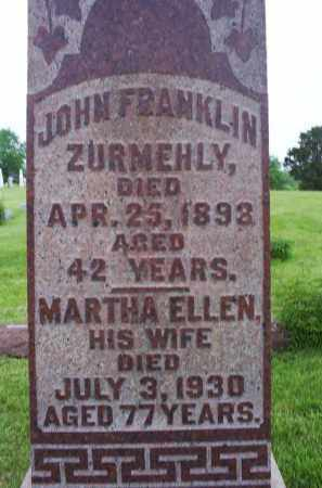 ZURMEHLY, JOHN FRANKLIN - Ross County, Ohio | JOHN FRANKLIN ZURMEHLY - Ohio Gravestone Photos