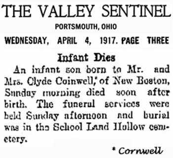 CORNWELL, INFANT - Scioto County, Ohio | INFANT CORNWELL - Ohio Gravestone Photos