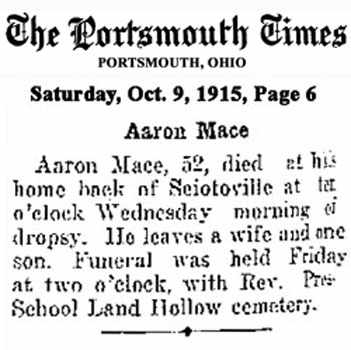 MACE, AARON - Scioto County, Ohio | AARON MACE - Ohio Gravestone Photos