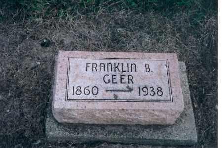 GEER, FRANKLIN B - Shelby County, Ohio   FRANKLIN B GEER - Ohio Gravestone Photos