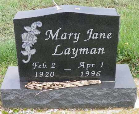 LAYMAN, MARY JANE - Shelby County, Ohio | MARY JANE LAYMAN - Ohio Gravestone Photos