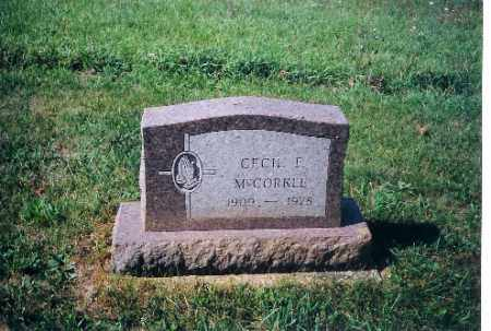 MCCORKLE, CECIL F - Shelby County, Ohio | CECIL F MCCORKLE - Ohio Gravestone Photos