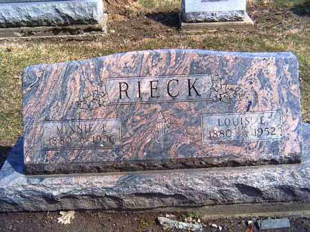 RIECK, MINNIE L. - Shelby County, Ohio | MINNIE L. RIECK - Ohio Gravestone Photos