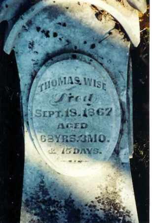 WISE, THOMAS - Shelby County, Ohio | THOMAS WISE - Ohio Gravestone Photos
