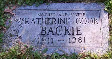 BACKIE, KATHERINE COOK - Stark County, Ohio | KATHERINE COOK BACKIE - Ohio Gravestone Photos