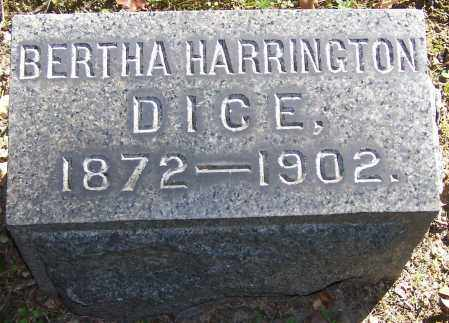DICE, BERTHA HARRINGTON - Stark County, Ohio | BERTHA HARRINGTON DICE - Ohio Gravestone Photos