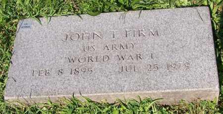 FIRM, JOHN T. - Stark County, Ohio | JOHN T. FIRM - Ohio Gravestone Photos