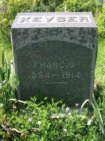 KEYSER, FRANCIS - Stark County, Ohio | FRANCIS KEYSER - Ohio Gravestone Photos