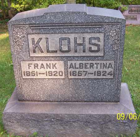 KLOHS, ALBERTINA - Stark County, Ohio | ALBERTINA KLOHS - Ohio Gravestone Photos