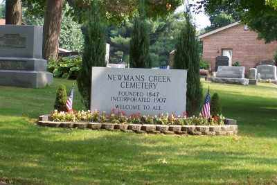 NEWMAN'S CREEK CEMETERY, SIGN - Stark County, Ohio | SIGN NEWMAN'S CREEK CEMETERY - Ohio Gravestone Photos