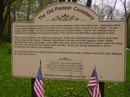 OLD PIONEER CEMETERY, SIGN - Stark County, Ohio | SIGN OLD PIONEER CEMETERY - Ohio Gravestone Photos
