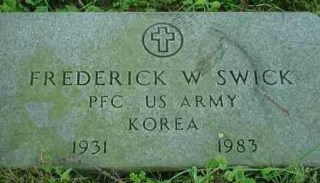 SWICK, FREDERICK W - Stark County, Ohio | FREDERICK W SWICK - Ohio Gravestone Photos