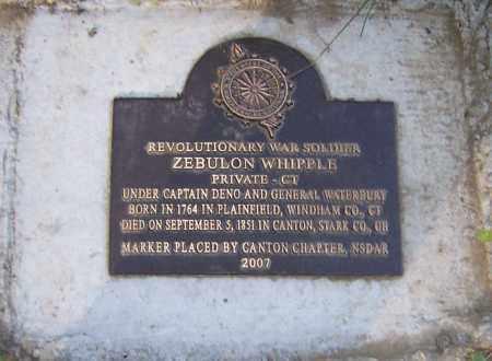 WHIPPLE, ZEBULON - Stark County, Ohio | ZEBULON WHIPPLE - Ohio Gravestone Photos