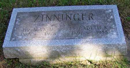 ZINNINGER, ELIZABETH K. - Stark County, Ohio | ELIZABETH K. ZINNINGER - Ohio Gravestone Photos