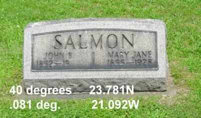 SALMON, MARY JANE - Tuscarawas County, Ohio | MARY JANE SALMON - Ohio Gravestone Photos