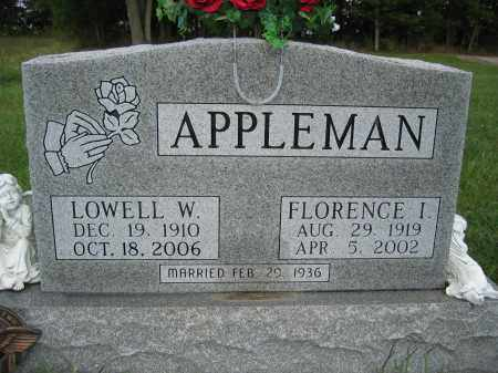 APPLEMAN, FLORENCE I - Union County, Ohio | FLORENCE I APPLEMAN - Ohio Gravestone Photos