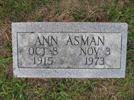 ASMAN, ANN - Union County, Ohio | ANN ASMAN - Ohio Gravestone Photos