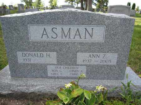 ASMAN, DONALD H. - Union County, Ohio | DONALD H. ASMAN - Ohio Gravestone Photos