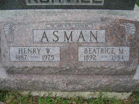 ASMAN, HENRY W. - Union County, Ohio | HENRY W. ASMAN - Ohio Gravestone Photos
