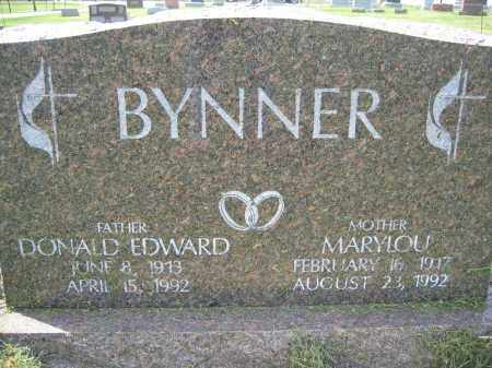 BYNNER, DONALD EDWARD - Union County, Ohio | DONALD EDWARD BYNNER - Ohio Gravestone Photos