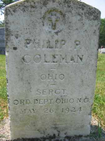 COLEMAN, PHILIP P - Union County, Ohio | PHILIP P COLEMAN - Ohio Gravestone Photos