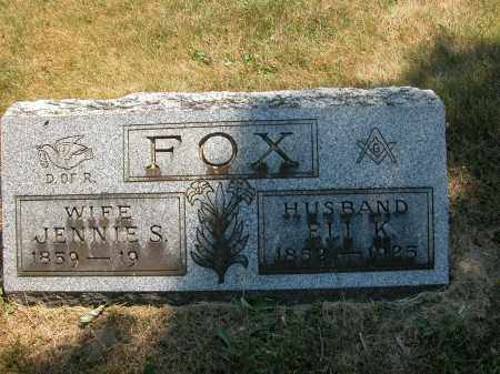 FOX, JENNIE S. - Union County, Ohio | JENNIE S. FOX - Ohio Gravestone Photos
