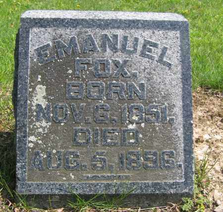 FOX, EMANUEL - Union County, Ohio | EMANUEL FOX - Ohio Gravestone Photos