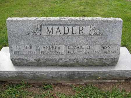 MADER, ANN - Union County, Ohio | ANN MADER - Ohio Gravestone Photos