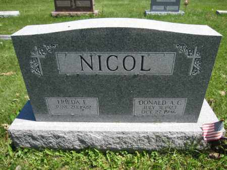 NICOL, DONALD A.C. - Union County, Ohio | DONALD A.C. NICOL - Ohio Gravestone Photos