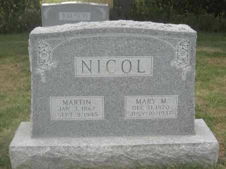 NICOL, MARY M. - Union County, Ohio | MARY M. NICOL - Ohio Gravestone Photos
