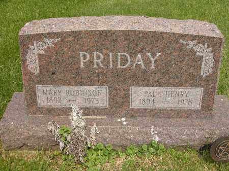 PRIDAY, MARY ROBINSON - Union County, Ohio | MARY ROBINSON PRIDAY - Ohio Gravestone Photos