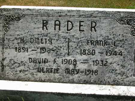 RADER, VERTIE MAY - Union County, Ohio | VERTIE MAY RADER - Ohio Gravestone Photos